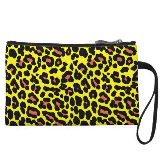 Fashionable yellow and orange leopard print patter wristlet clutch