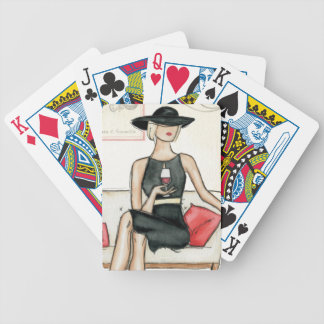 Fashionista Drinking Wine Bicycle Playing Cards