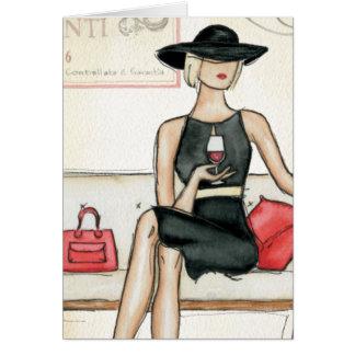 Fashionista Drinking Wine Card