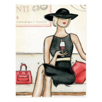 Fashionista Drinking Wine Postcard