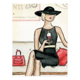 Fashionista Drinking Wine Post Cards