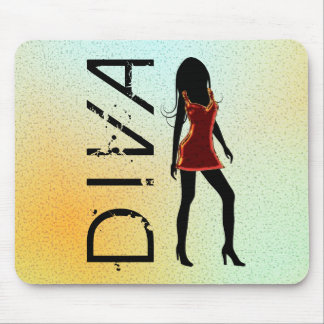 Fashionista Fashion Diva in Red Dress Mousepad