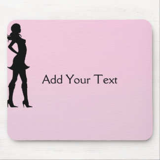 Fashionista in Pink and Grey Mouse Pad