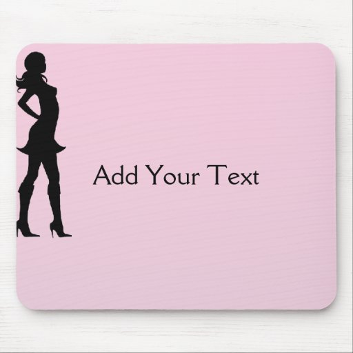 Fashionista in Pink and Grey Mouse Pads