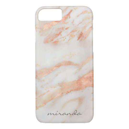 Fashionista Pink and White Marble with Name iPhone