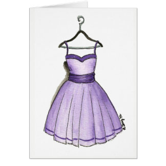 Fashionista Retro Vintage Purple Prom Party Dress Card