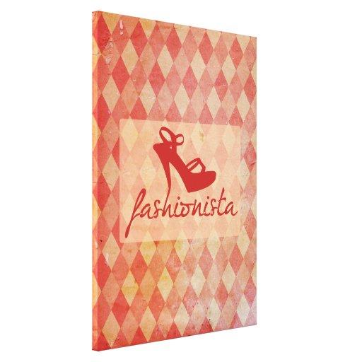 Fashionista Vintage Pattern Stretched Canvas Print