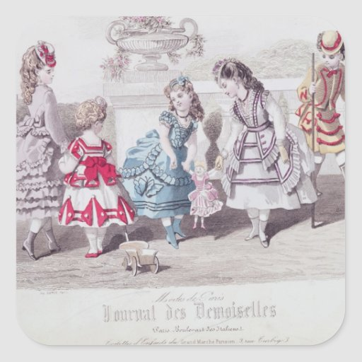 Fashions for Girls, from 'Journal des Square Sticker