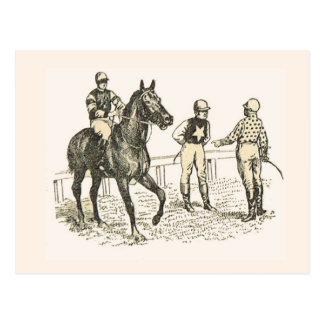 Fashions, French jockeys; 1900 Postcard
