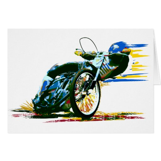 Fast Awesome Speedway Motorcycle Greeting Card