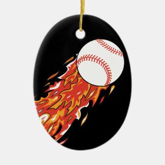 fast baseball on fire flames christmas ornament
