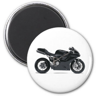 Fast Black Motorcycle 6 Cm Round Magnet