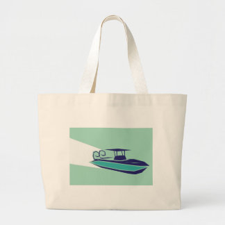 Fast boat Vector Large Tote Bag