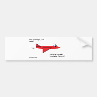 Fast-flying Flynn the Red Jet Airplane in Flight Bumper Sticker