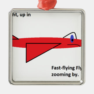 Fast-flying Flynn the Red Jet Airplane in Flight Silver-Colored Square Decoration