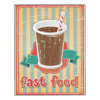 Fast food background with drink in retro style
