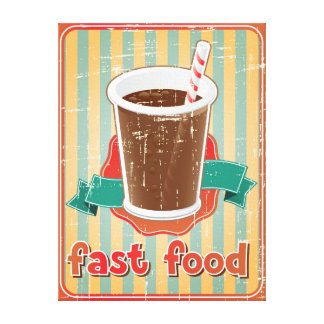 Fast food background with drink in retro style canvas print