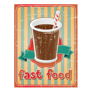 Fast food background with drink in retro style postcard