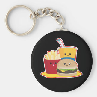 Fast Food Basic Round Button Key Ring