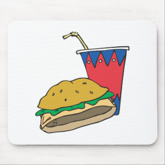 fast food burger and soft drink mouse pad