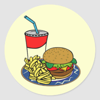 Fast Food- Burger & Fries Round Sticker