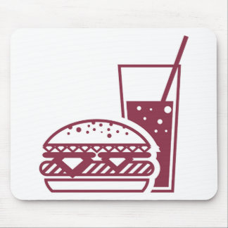 Fast Food Cheeseburger and Drink Mouse Pad