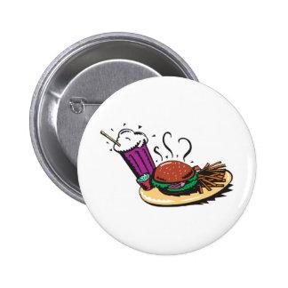 fast food diner meal 6 cm round badge