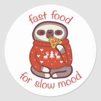 fast food for slow mood classic round sticker