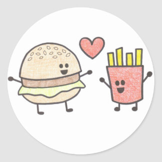 Fast Food Friends Round Sticker