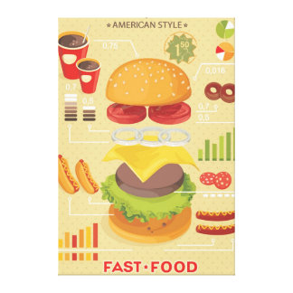 Fast food info graphic canvas print