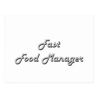 Fast Food Manager Classic Job Design Postcard
