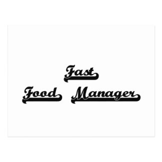 Fast Food Manager Classic Job Design Postcard