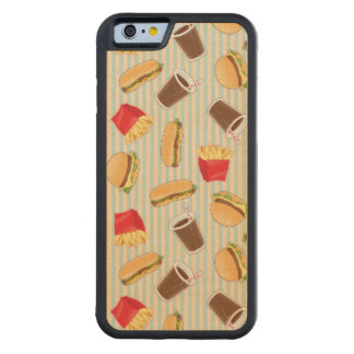 Fast Food Pattern 2 Carved Maple iPhone 6 Bumper Case