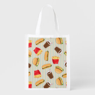 Fast Food Pattern 2 Reusable Grocery Bag
