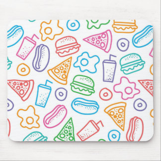 Fast food pattern mouse mat
