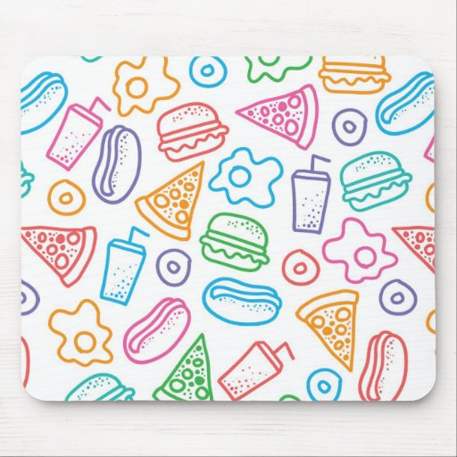Fast food pattern mouse pad