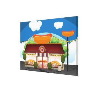 Fast Food Restaurant Cartoon Gallery Wrap Canvas