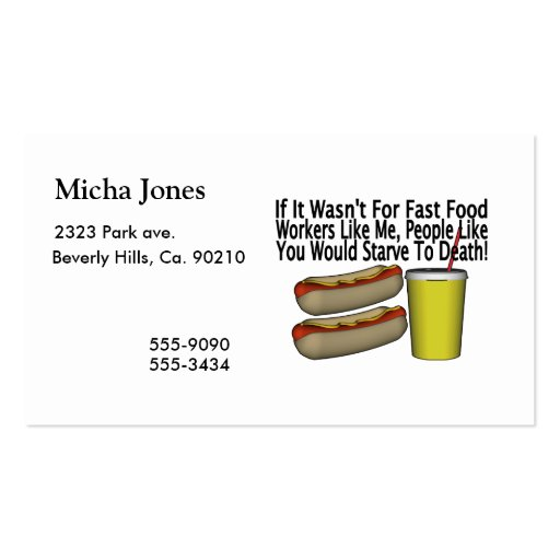 Fast food worker business card templates zazzle for Get business cards fast