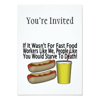 Fast Food Worker 13 Cm X 18 Cm Invitation Card