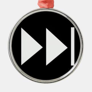 Fast Forward Button Symbol Silver-Colored Round Decoration
