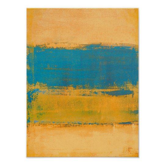 'Fast Forward' Orange and Blue Abstract Art Poster
