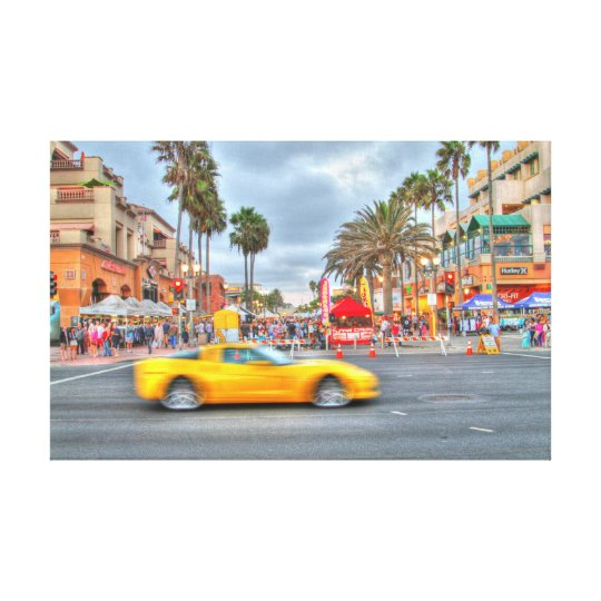 "Fast Motion Corvette"" PCH and Mian Stree Canvas Print"