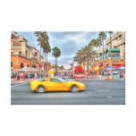 "Fast Motion Corvette"" PCH and Mian Stree Stretched Canvas Print"