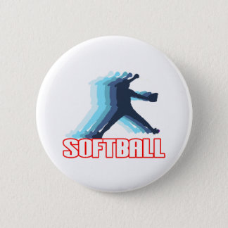 Fast Pitch Softball Silhouette 6 Cm Round Badge