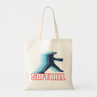 Fast Pitch Softball Silhouette Budget Tote Bag