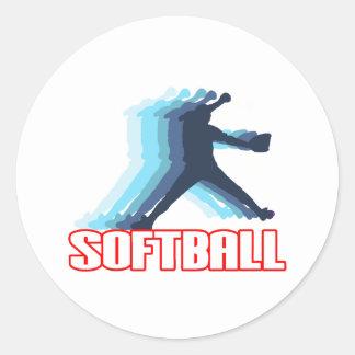 Fast Pitch Softball Silhouette Classic Round Sticker