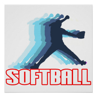 Fast Pitch Softball Silhouette Poster