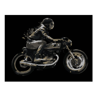 Fast Racing Cafe Racer Motorcyle Rider Post Cards