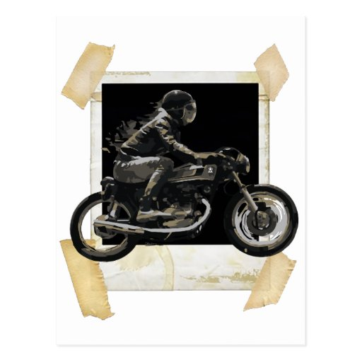 Fast Racing Cafe Racer Motorcyle Rider Postcard