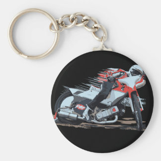 Fast Red Speedway Motorcycle Basic Round Button Key Ring